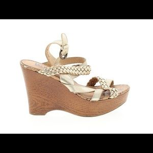 Mix Nos 6 soft gold kensi braided strap wedge sand